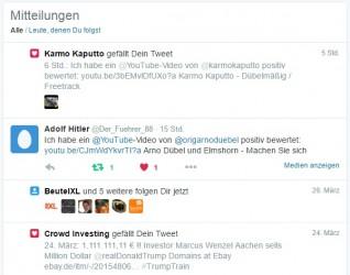"""Twitter @Der_Fuehrer_88   """"Adolf Hitler"""" bewertet Hartz 4 Video positiv"""