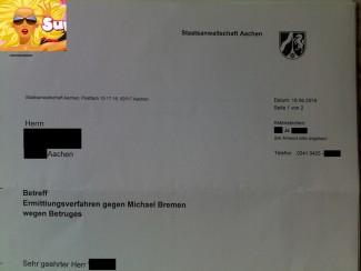 Betrug | Strafsache Michael Bremen bei Generalstaatsanwaltschaft Köln