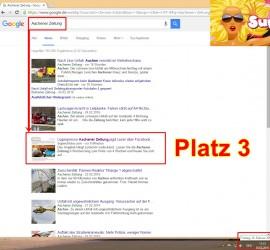 """Googlesuche """"Aachener Zeitung""""   Artikel """"Lügenpresse"""" prompt auf Platz 3"""