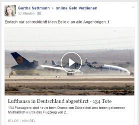 Deathspam | Lufthansa in Deutschland abgestürzt – 134 Tote