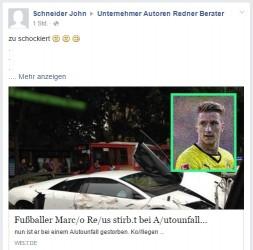 Deathspam | Fußballer Marco Reus tot durch Autounfall