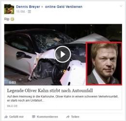 Deathspam | Fußball Legende Oliver Kahn tot nach Autounfall