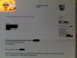 Verleumdung   Staatsanwaltschaft Aachen ermittelt gegen Anika K.