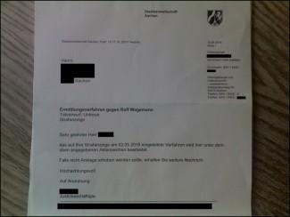 Ermittlungsverfahren gegen Sparkassen-Vorstand Ralf Wagemann   Staatsanwaltschaft Aachen