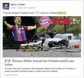 Deathspam | FCB-Star Thomas Müller wieder für tot erklärt @Facebook